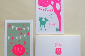 Fluor roze geboortekaartjes Lief Leuk & Eigen
