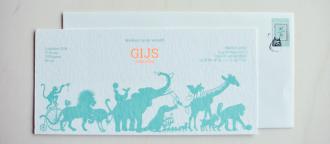 Geboortekaartje op karton - Geertje Aalders