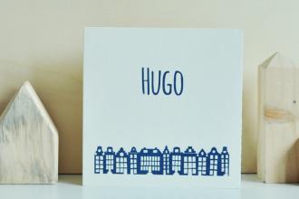 Geboortekaartje-Oud-Holland-huisjes-Hugo