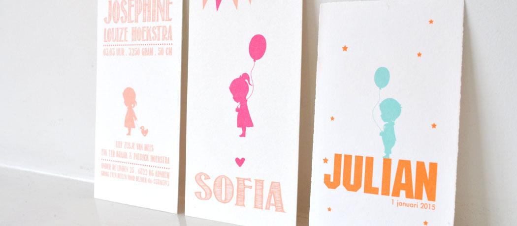 Geboortekaartjes specials silhouetten karton