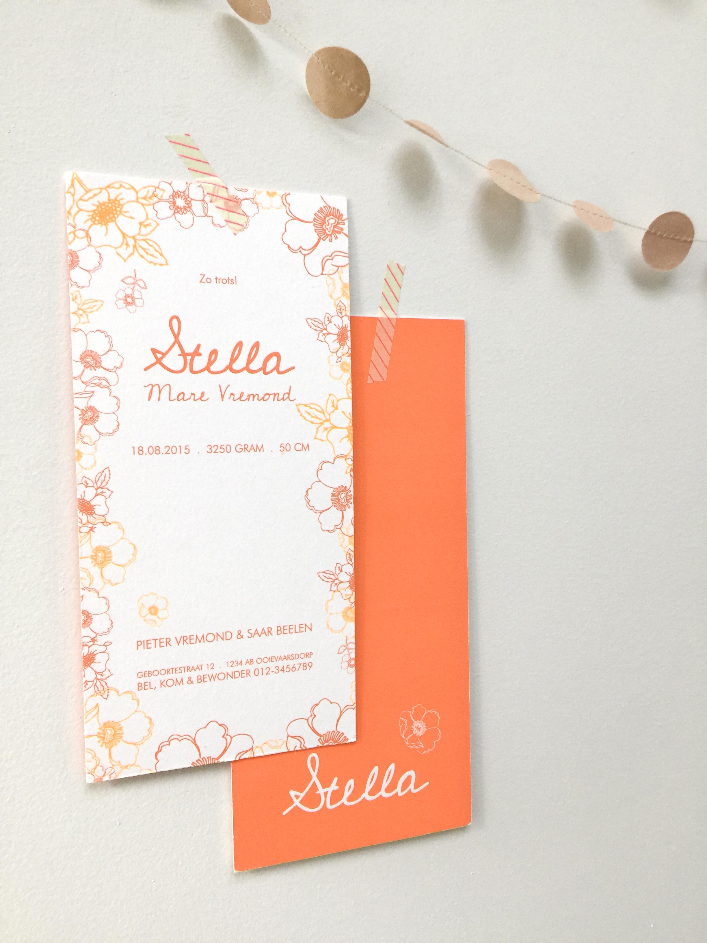 KARTON geboortekaartje bloemen Stella2