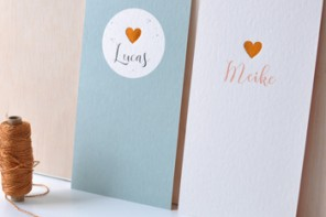 Geboortekaartjes hartje koper Lief Leuk & Eigen