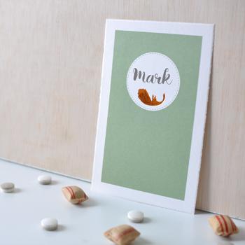Geboortekaartje met folie - veertje koper - groen