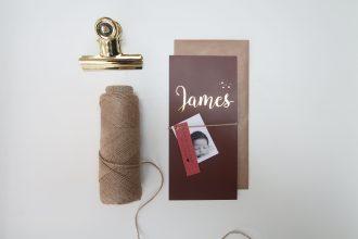 Geboortekaartje naam goud James