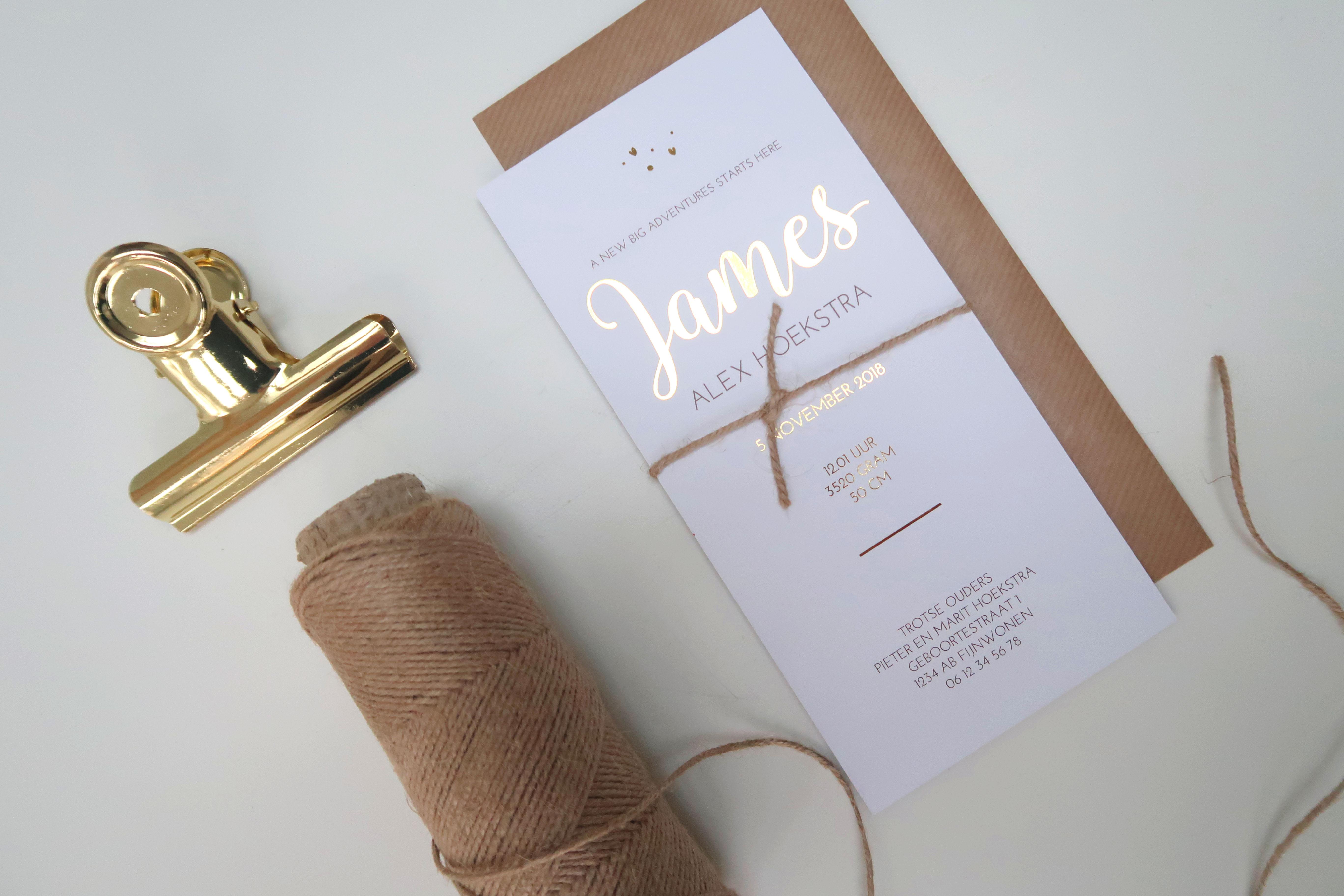 Geboortekaartje gouden tekst James